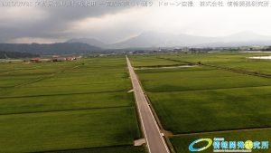 阿蘇 国造神社付近水田 一直線が美しい通りドローン空撮4K写真 20160728 vol.6